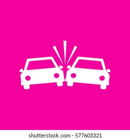 Crashed Cars sign. White icon at magenta background.