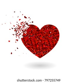 Crashed red glitter heart silhouette isolated on white background. Sharp glowing particles. Symbol of love. Vector illustration. Heart with red glitter. Valentine's Day Romantic background