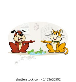 Crashed vase with guilty cat and dog point fingers to each other. Angry furious rabid pets indoors. Home animals cause problem. Eps 10 vector illustration.