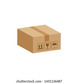 crate boxes 3d, cardboard box brown, flat style cardboard parcel boxes, packaging cargo, isometric boxes brown, packaging box brown icon, symbol carton box isolated on white background