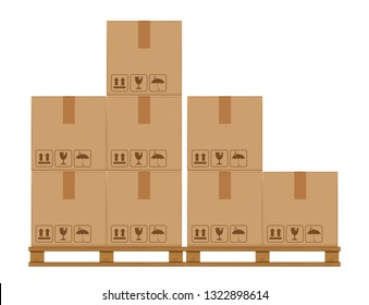 crate boxes eight on wooden pallet, wood pallet with cardboard box in factory warehouse storage, flat style warehouse cardboard parcel boxes stack, packaging cargo, 3d boxes brown isolated on white