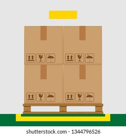 crate boxes on wooden pallet and yellow marking area for products arrangement concept, stack cardboard box in factory warehouse storage, cardboard parcel boxes packaging cargo brown isolated on grey