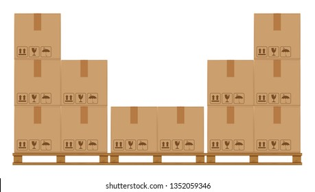 crate boxes on wooden pallet, wood pallet with cardboard box in factory warehouse storage, flat style warehouse cardboard parcel boxes stack, packaging cargo, 3d boxes brown isolated on white