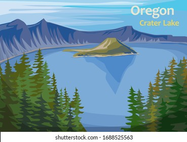 Crater Lake, crater lake in south-central Oregon in the western United State, vector illustration