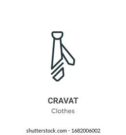 Cravat Umriss Vektorillustration Symbol. Schwarze Kreissymbol, dünne Vektorillustration, einfache Elementgrafik aus bearbeitbarem Kleidungskonzept einzeln auf weißem Hintergrund