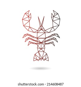 Crawfish abstract isolated on a white backgrounds, vector illustration
