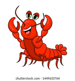 crawfish cartoon cute character illustration isolated on white background