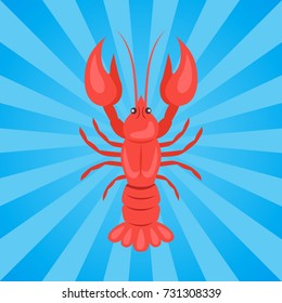 Crawfish or crawdads, freshwater lobster, mudbugs or yabbies seafood vector in concept of Oktoberfest or Octoberfest festival on background with rays