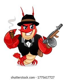 crawfish cute mascot cartoon in vector