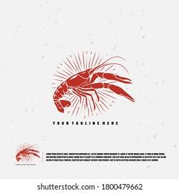 Crawfish illustration logo premium vector
