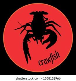 crawfish label crawfish silhouette, crayfish icon, lobster sign, crawfish symbol tex- crawfish. Vector illustration.