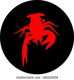 crawfish label (crawfish silhouette, crayfish icon, lobster sign, crawfish symbol)Vector illustration .