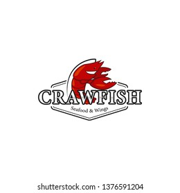 Crawfish lobster seafood bistro restaurant logo icon symbol with mascot character illustration