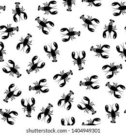 Crawfish monochrome seamless pattern. Flat illustration of black lobsters.