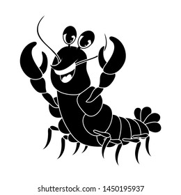 crawfish silhouette cartoon cute character illustration isolated on white background