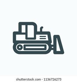 Crawler bulldozer icon, crawler dozer vector icon