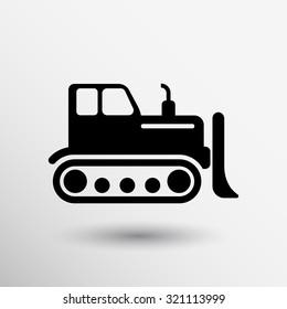 Crawler Dozer tractor icon vector button logo symbol concept.