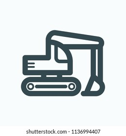 Crawler excavator icon, construction digger excavator vector icon