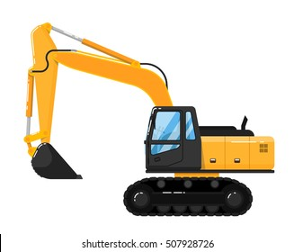 Crawler excavator truck isolated on white background. Construction digger machine in flat. Backhoe loader. Realistic vector excavator. Excavator vector icon. Backhoe vector isolated. Heavy equipment