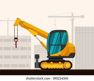 Crawler telescopic boom mini crane with construction background. Side view mobile compact crane vector illustration