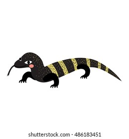 Crawling Monitor lizard animal cartoon character isolated on white background.