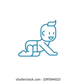 Crawling on all fours linear icon concept. Crawling on all fours line vector sign, symbol, illustration.
