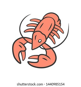 Crayfish color icon. Underwater sea animals, lobster. Healthy nutrition. Vitamin and diet. Seafood restaurant cuisine. Food delicacy. Isolated vector illustration