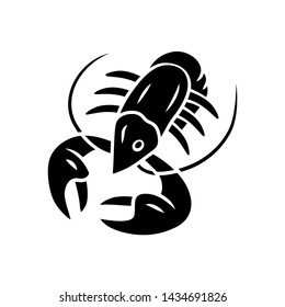Crayfish glyph icon. Underwater sea animals, lobster. Healthy nutrition. Seafood restaurant. Nutritious dishes. Food delicacy. Silhouette symbol. Negative space. Vector isolated illustration