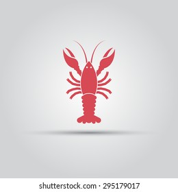 Crayfish or lobster isolated simple vector red icon