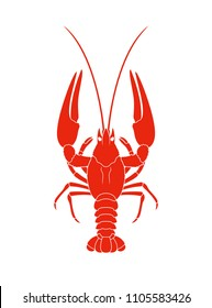 Crayfish logo. Isolated crayfish on white background