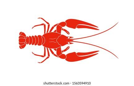 Crayfish logo. Isolated crayfish on white background