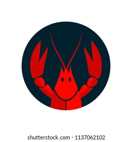 Crayfish logo. Red river lobster, langoustine or crustacean delicacies isolated on white background. Seafood design. Vector illustration