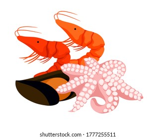 Crayfish, mussel and octopus. Organic natural healthful nutrition. Proper or improper nutrition habits, allergens. Fresh seafood products isolated object vector design element