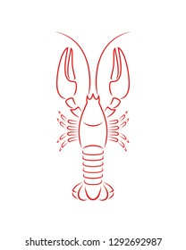 Crayfish outline. Isolated crayfish on white background