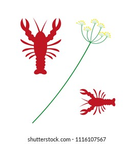 Crayfish party is a typical Swedish tradition. Graphic vector elements in form of dill and a crawfish.