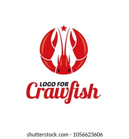 Crayfish Prawn Shrimp Lobster Claw Seafood Circular Label logo design inspiration