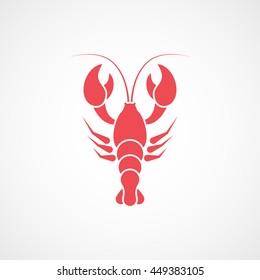 Crayfish Red Flat Icon On White Background