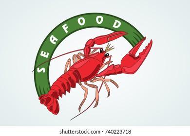 crayfish. seafood. a logo is an emblem.