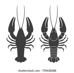Crayfish silhouette. Isolated crayfish on white background