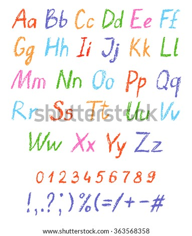 Crayon child's drawing alphabet. Pastel chalk font. ABC drawing letters. Kids drawn colorful