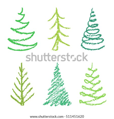 Crayon Childs Drawing Merry Christmas Tree Stock Vector Royalty