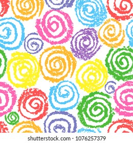 Crayon colorful hand drawing spiral helix circles pattern. Like kid's drawing of multicolor funny round elements. Wax, pastel chalk or pencil seamless vector childlike background.