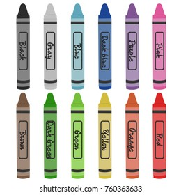 Crayon colors vector illustration. Wax colorful crayons isolated on white background.