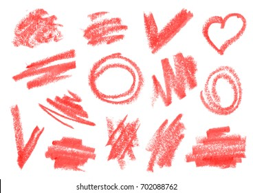 Crayon, dry brush, lipstick rough strokes, doodles set. Vector collection for design