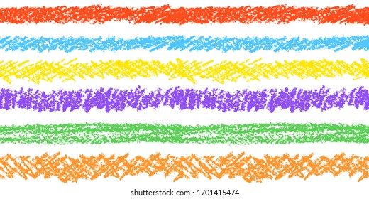 Crayon hand drawing artistic border or seamless stripe pattern. Colorful pastel chalk or pencil art strokes set. Like child`s drawn design elements. Vector grunge texture lines background.