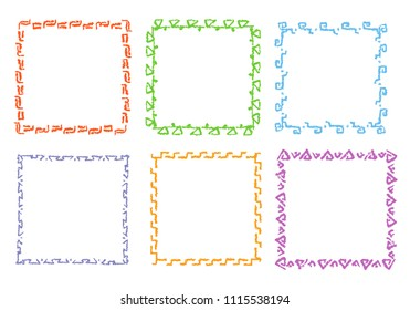 Crayon hand drawing square frames. Set of colorful rectangular ornate design element chalk or pencil like kid`s drawn style. Vector art strokes lines banner border, template, copy space background.