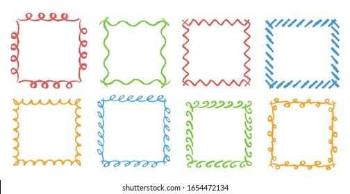 Crayon hand drawing square frames. Set of colorful rectangular ornate design element chalk or pencil like kids drawn style. Vector doodle art stroke line banner border, template, copy space background