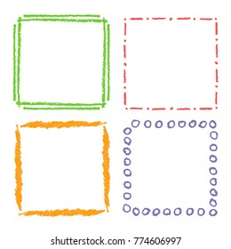Crayon hand drawing square frames. Set of colorful rectangular ornate design element chalk or pencil like kid's drawn style. Vector art strokes lines banner border, template, copy space background.