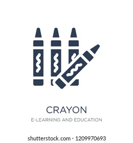 Crayon icon. Trendy flat vector Crayon icon on white background from E-learning and education collection, vector illustration can be use for web and mobile, eps10