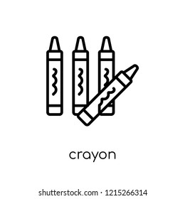 Crayon icon. Trendy modern flat linear vector Crayon icon on white background from thin line E-learning and education collection, editable outline stroke vector illustration